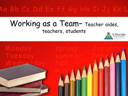 Working as a Team– Teacher aides, teachers, students.