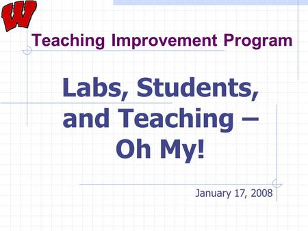 Teaching Improvement Program Labs, Students, and Teaching – Oh My! January 17, 2008.
