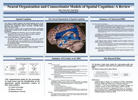 Neural Organization and Connectionist Models of Spatial Cognition: A Review Jigar Patel and S. Bapi Raju* University of Hyderabad Spatial Cognition The.