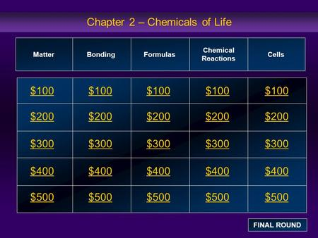 Chapter 2 – Chemicals of Life $100 $200 $300 $400 $500 $100$100$100 $200 $300 $400 $500 MatterBondingFormulas Chemical Reactions Cells FINAL ROUND.