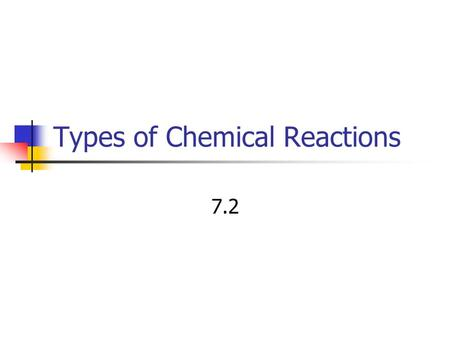 Types of Chemical Reactions 7.2. Synthesis Reaction In a synthesis reaction two or more chemical species combine to form a more complex product. A + B.