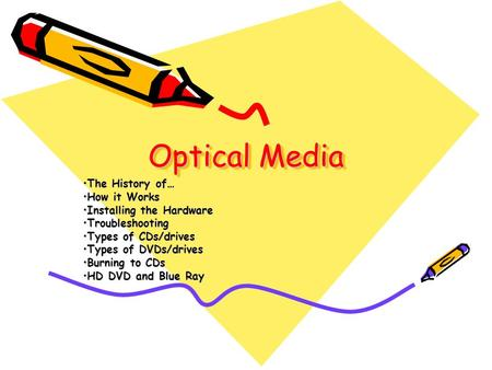 Optical Media The History of…The History of… How it WorksHow it Works Installing the HardwareInstalling the Hardware TroubleshootingTroubleshooting Types.