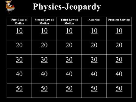 Physics-Jeopardy First Law of Motion Second Law of Motion Third Law of Motion AssortedProblem Solving 10 20 30 40 50.