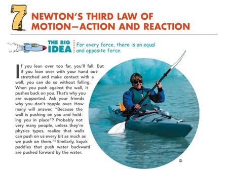 Objectives Define force as part of an interaction. (6.1) State Newton's third law of motion. (6.2) Given an action force, identify the reaction force.