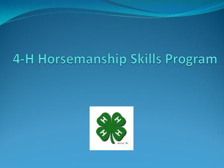 Horsemanship Skills Program Planned progression of handling and riding skills 4-H member learns skills, is tested, and completes one level before advancing.