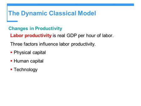 The Dynamic Classical Model Changes in Productivity Labor productivity is real GDP per hour of labor. Three factors influence labor productivity.  Physical.