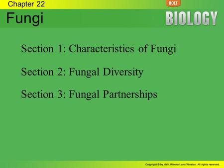 Chapter 22 Fungi Section 1: Characteristics of Fungi Section 2: Fungal Diversity Section 3: Fungal Partnerships.