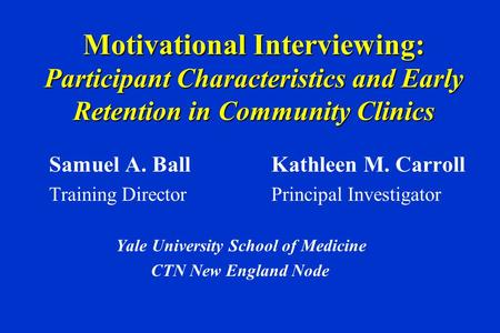 Motivational Interviewing to Improve Treatment Engagement ...