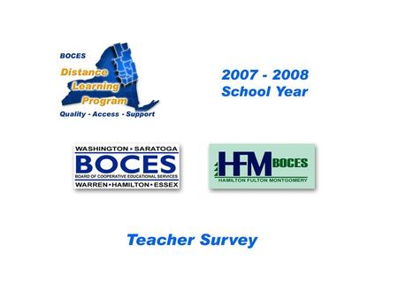 HFM SAN Distance Learning Project Teacher Survey 2007 – 2008 School Year... BOCES Distance Learning Program Quality Access Support.