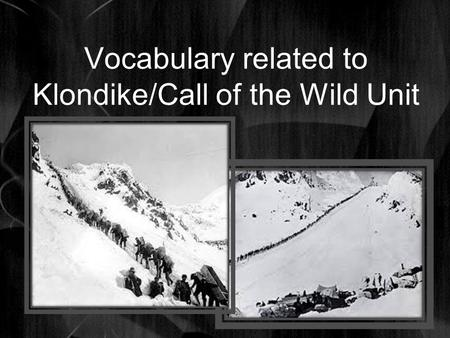Vocabulary related to Klondike/Call of the Wild Unit.