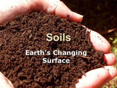 Soils Earth's Changing Surface. Review  Weathering – breaks down rock –Mechanical –Chemical  Erosion – removes the rock particles.