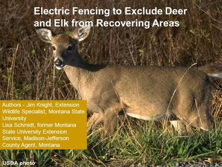 Electric Fencing to Exclude Deer and Elk from Recovering Areas Authors - Jim Knight, Extension Wildlife Specialist, Montana State University Lisa Schmidt,