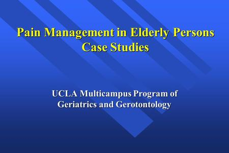 Pain Management in the Elderly Population: A Review