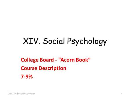 "XIV. Social Psychology College Board - ""Acorn Book"" Course Description 7-9% Unit XIV. Social Psychology1."
