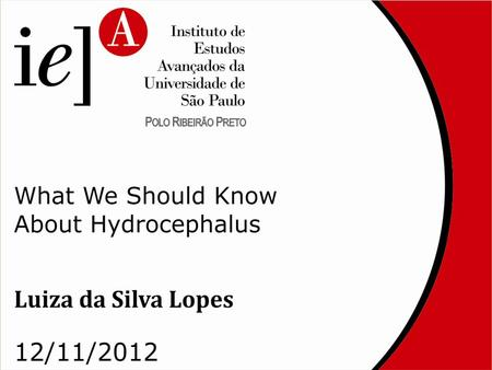 What We Should Know About Hydrocephalus Luiza da Silva Lopes Ribeirão Preto 2012.