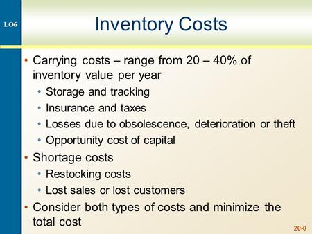 20-0 Inventory Costs Carrying costs – range from 20 – 40% of inventory value per year Storage and tracking Insurance and taxes Losses due to obsolescence,
