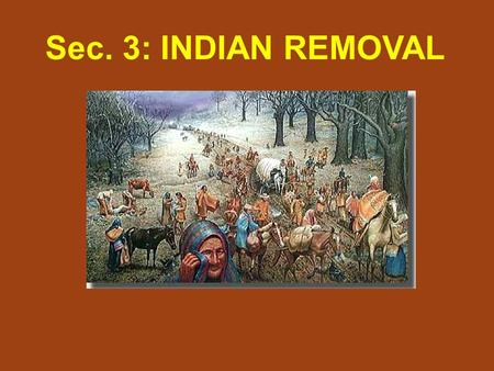 Sec. 3: INDIAN REMOVAL. By 1829, the native population east of the Mississippi River had dwindled to 125,000. Growing population (risen to 13 million)