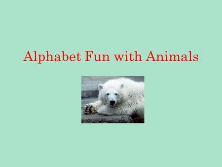 Alphabet Fun with Animals. A is for Alligator B is for Bear.
