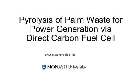Pyrolysis of Palm Waste for Power Generation via Direct Carbon Fuel Cell By Dr. Estee Yong Siek Ting.