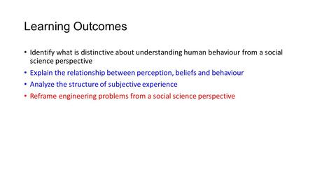 Learning Outcomes Identify what is distinctive about understanding human behaviour from a social science perspective Explain the relationship between perception,