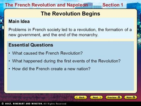 The Revolution Begins Main Idea Essential Questions