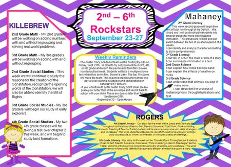 2 nd – 6 th Rockstars September 23-27 Weekly Reminders 4th Grade Literacy – Our story for the week will be, Lewis and Clark and Me. Throughout our 6 stations.