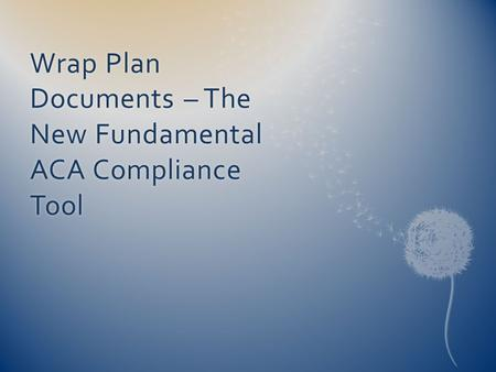 Wrap Plan Documents – The New Fundamental ACA Compliance Tool.