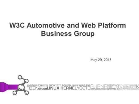 W3C Automotive and Web Platform Business Group May 29, 2013.
