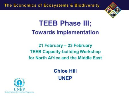 TEEB Phase III; Towards Implementation 21 February – 23 February TEEB Capacity-building Workshop for North Africa and the Middle East Chloe Hill UNEP.