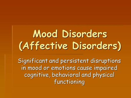 psychology mood disorders