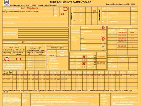 Extrapulmonary Site 2 :_____________________ TUBERCULOSIS TREATMENT CARD BOTSWANA NATIONAL TUBERCULOSIS PROGRAMME Date RegisteredIN ToOUT RegisteredIN.