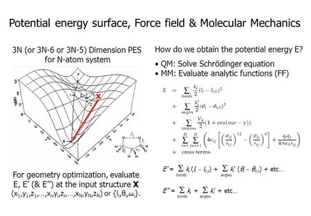 Potential energy surface, Force field & Molecular Mechanics 3N (or 3N-6 or 3N-5) Dimension PES for N-atom system x E' =  k i (l i  l 0,i ) +  k i '