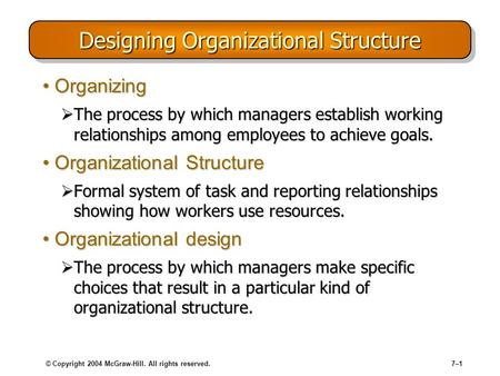 © Copyright 2004 McGraw-Hill. All rights reserved.7–1 Designing Organizational Structure OrganizingOrganizing  The process by which managers establish.