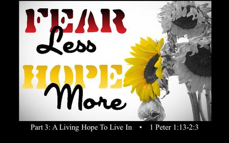 Rick Snodgrass Part 3: A Living Hope To Live In 1 Peter 1:13-2:3.