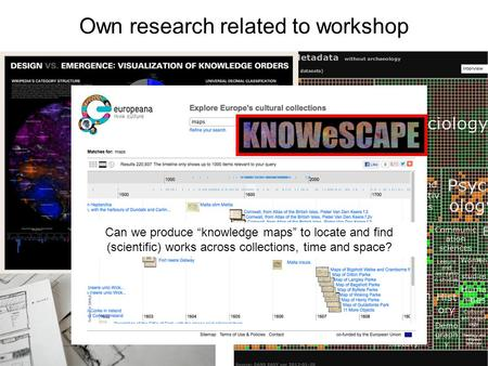 "Own research related to workshop Can we produce ""knowledge maps"" to locate and find (scientific) works across collections, time and space?"