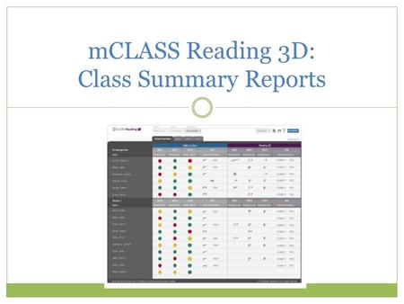 MCLASS Reading 3D: Class Summary Reports. Desired Outcomes Understand how to access and analyze Class Summary Reports for whole class and individual students.