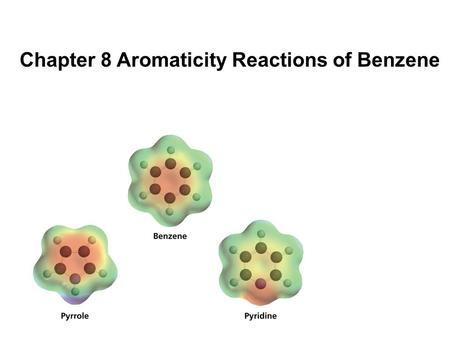 Chapter 8 Aromaticity Reactions of Benzene. Aromatic compounds undergo distinctive reactions which set them apart from other functional groups. They.