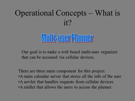 Our goal is to make a web based multi-user organizer that can be accessed via cellular devices. There are three main component for this project: A main.