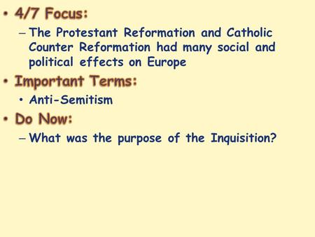 Counter Reformation Council of Trent Reforms Ignatius of Loyola Inquisition Missionary work Establish schools.