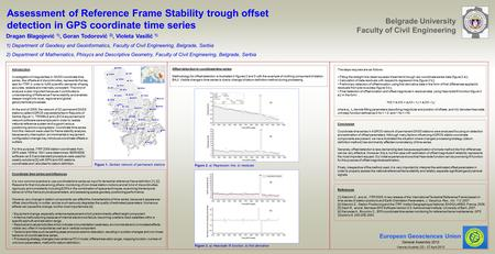 Assessment of Reference Frame Stability trough offset detection in GPS coordinate time series Dragan Blagojević 1), Goran Todorović 2), Violeta Vasilić.