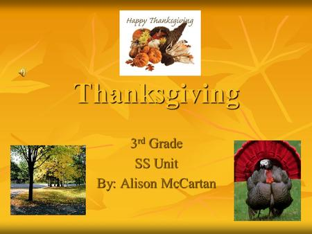 Thanksgiving 3rd Grade SS Unit By: Alison McCartan.