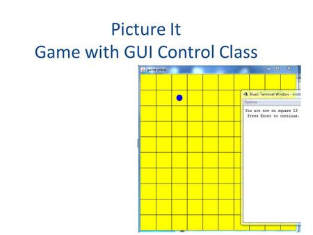 Picture It Game with GUI Control Class Pepper. Class Diagram Game (controller & maybe model) – holds the state of the game – has a static main method.