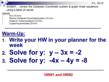 SWBAT… review the Cartesian Coordinate system & graph linear equations using a table of values Agenda 1. WU (10 min) 2. Review Cartesian Coordinate System.