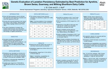 Genetic Evaluation of Lactation Persistency Estimated by Best Prediction for Ayrshire, Brown Swiss, Guernsey, and Milking Shorthorn Dairy Cattle J. B.