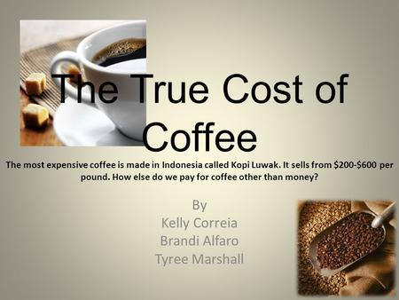 The True Cost of Coffee By Kelly Correia Brandi Alfaro Tyree Marshall The most expensive coffee is made in Indonesia called Kopi Luwak. It sells from $200-$600.