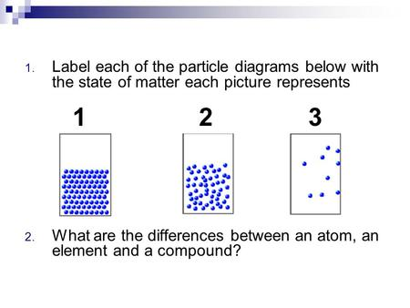 1. Label each of the particle diagrams below with the state of matter each picture represents 2. What are the differences between an atom, an element and.