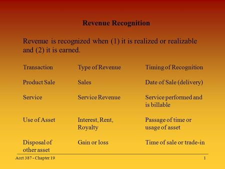 Acct 387 - Chapter 191 Revenue Recognition Revenue is recognized when (1) it is realized or realizable and (2) it is earned. TransactionType of RevenueTiming.