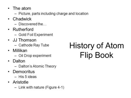 History of Atom Flip Book The atom –Picture, parts including charge and location Chadwick –Discovered the… Rutherford –Gold Foil Experiment JJ Thomson.