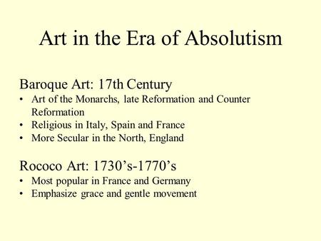 Art in the Era of Absolutism