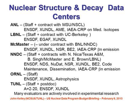 Nuclear Structure & Decay Data Centers John Kelley (NCSU&TUNL) – US Nuclear Data Program Budget Briefing – February 9, 2015 ANL – (Staff + contract with.